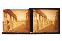Pompei Italia Foto Placca Da Lente Stereo Positivo Vintage 6x13 CM