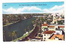 MIAMI BEACH, FLORIDA AIR VIEW OF INDIAN CREEK LINEN POSTCARD UNPOSTED