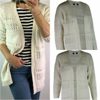 Womens Ladies Ivory Open Front Long Sleeve Cotton Mix Crochet Knit Cardigan