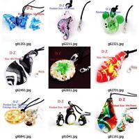 g814p18 Fashion Animal Lampwork Glass Murano Bead Pendant Necklace Earrings set
