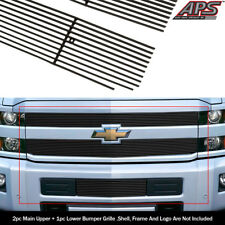 Fits 2015-2018 Chevy Silverado 2500HD/3500HD Black Billet Grille Combo