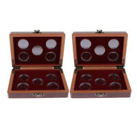2Pcs Wooden Coins Display Box with 27mm 20 Coin Holder Coin Storage Case