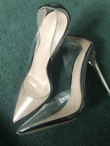 NEW Pretty Little Thing Clear See Through Court Shoes Stilettos Size 4