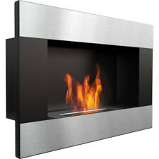Dallas black horizontal wall mounted bioethanol fireplace modern style fireplace