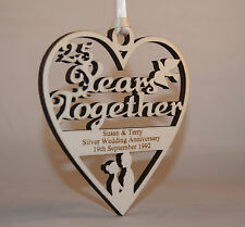 PERSONALISED 25 YEARS SILVER WEDDING PLAQUE ENGRAVED WITH YOUR OWN WORDING