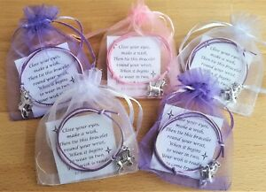 5x Unicorn Wish Bracelets in Organza bags GIRLS PARTY BAG FILLERS  Favours Gift