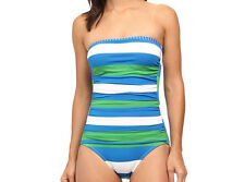 NEW Tommy Bahama Womens Rugby & Notebook Stripe Bandeau One-Piece SwimSuit AU8