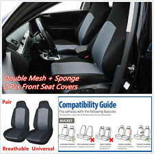 Pair Double Mesh + Sponge Car SUV Front Seat Covers Protector Built-in Seat Belt