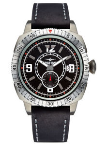 Men's BLACK LEATHER Strap Watch DOGFIGHT  WINGMAN COLLECTION  DF0036