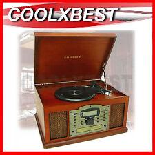 CROSLEY TROUBADOUR RETRO TURNTABLE MUSIC CENTRE USB CD CASSETTE RADIO IR REMOTE