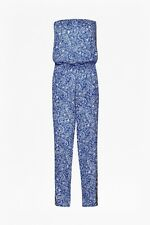BNWT New FRENCH CONNECTION Blue White Bali Drawstring Bandeau Jumpsuit Large