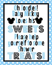 Disney Mickey Mouse Baby Shower STAND UP  8.5x11 Treat Sign in Blue