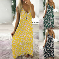 ❤️ Women's Floral Print V Neck Long Maxi Dress Ladies Summer Sleeveless Sundress
