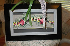 30's Barkcloth Nubby Modern Florida bungelow type art picture framed