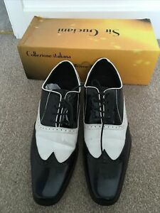 Men's Shoes Collezione Italiana BLACK AND WHITE Leather Party Size 10
