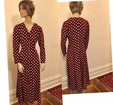 New listing Vintage 70's Maroon Maxi dress, long sleeves
