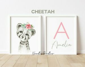 Personalised Nursery Art Prints Pictures For Baby Toddler Girls Bedroom Decor