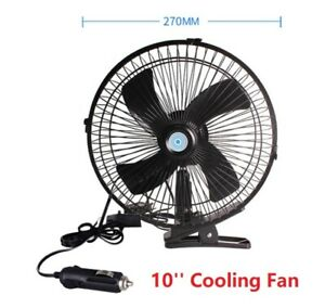 """US  10""""12V CLIP ON CAR OSCILLATING FAN 2M CABLE SPEED CONTROLLER TRUCK VAN LORRY"""