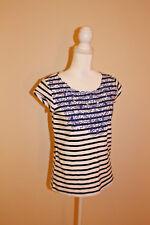 Anthropologie Meadow Rue Striped Short Sleeve Top Floral Lace Detail Women Sz S