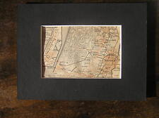 Antique map, plan,kaart Zandvoort en Haarlem Holland 1914 / free passepartout