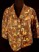 PLUS SZ FRENCH VINTAGE 1950'S NYLON PRINT BLOUSE JACKET