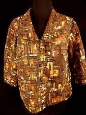 Plus Sz French Vintage 1950'S Nylon Print Blouse Jacket