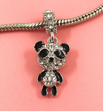 1pcs Silver Panda European Charm Crystal Spacer Beads Fit Necklace Bracelet  ! !