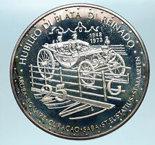 1973 NETHERLANDS Queen JULIANA Royal Carriage OLD Proof Silver 25Gld Coin i83480