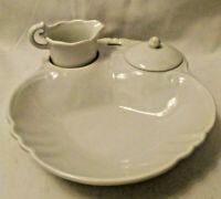 Unique Individual Serving Porcelain Berry Dish w/ Tiny Cream & Sugar Set