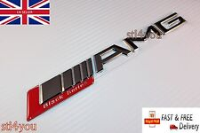 AMG Boot Trunk Badge Emblem Sticker Chrome Silver Red Black Series CL C SLK CLK