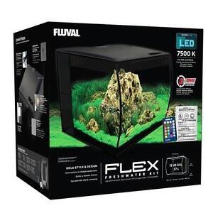 "FLUVAL - FLEX 57L 15 GALLON BLACK AQUARIUM KIT (16"" X 15"" X 15"")"