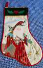 Vintage House of Hatten Embroidered Applique Santa Christmas Stocking