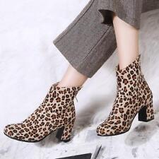 Leopard Block Heels Womens Ankle Boots Casual Warm Back Zipper Shoes Plus Size