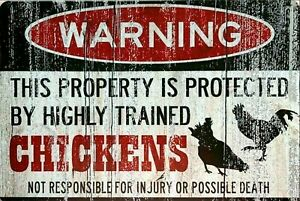 Warning Chickens protect property new tin metal sign MAN CAVE free postage