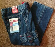 New Boys 5 Regular Wrangler Cargo Straight Leg Relaxed Blue Jeans Adjust. Waist
