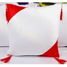 5pcs Hot Red Square Sublimation Blank Pillow Case With Tassel Balls Home Decor