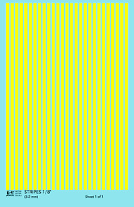 K4 HO Decals Yellow 1/8 Inch Stripes Set