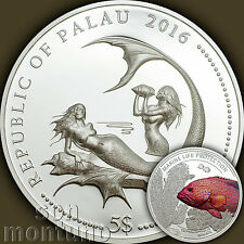 2016 Palau $5 - CORAL HIND FISH - Marine Life Protection SILVER Mermaid Coin