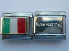 GENUINE NOMINATION LINK ITALIAN CHARM + UNBRANDED SILVER ITALIAN ITALY FLAG V5