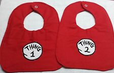 New Hm baby bib Girls Boys Unisex Thing 1 and Thing 2 Twins Seuss Funny Bibs