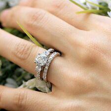 Ring Set Solid 14K White Gold 1.75Ct 3-Stone Forever Round Moissanite Engagement
