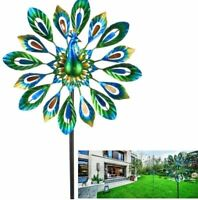 "51"" Wind Spinner Peacock Double Wind Sculpture Patio Lawn Garden Decor"