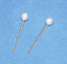 Barbie Dreamz WHITE Pearl Earrings Gold Stud Posts Doll Jewelry Vintage REPRO