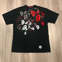 Gino Green Global Mens 2XL Black Embroidered T Shirt 100 Cotton