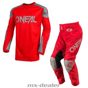 2021 O'Neal Matrix Ridewear Rot Grau Hose Jersey Motocross Enduro Quad Combo MTB
