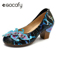 SOCOFY Women Genuine Leather Shoes Pumps Snakeskin Grain Floral Mid Heel Stylish