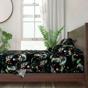 Koi Fish Chinoiserie Floral Japanese 100% Cotton Sateen Sheet Set by Roostery