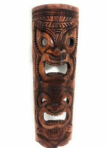 """Premium Love & Happiness Tiki Mask 40"""" Stained - Hand Carved   #rtg1011100s"""