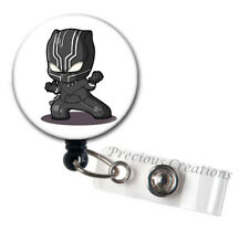 Black Panther ID Badge Reel Holder Clip Retractable RT Tech Nurse Cartoon