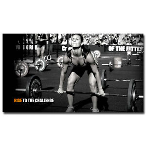 "Bodybuilding Female Fitness Motivational Silk Poster 13x24 24x43"" Gym Decor BD66"